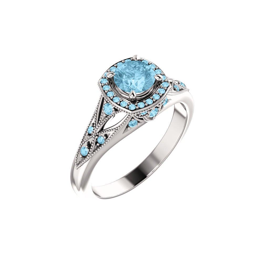 zásnubný prsteň s akvamarínom
